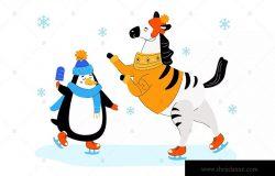 滑冰的斑马和企鹅扁平化矢量插画素材 Zebra and penguin skating – flat illustration