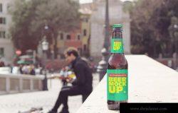 石桥背景啤酒瓶设计效果图样机模板 Artist Bridge Beer Mockup