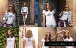 女款V领T恤欧美时装模特上身效果样机 Crew Neck T-shirt Mock-up Female Version
