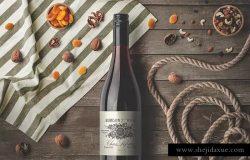 高级葡萄酒瓶及礼品纸袋包装设计样机