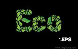 炫酷的绿色清新矢量英文字母字体素材