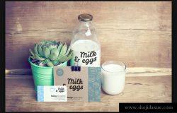 绿色健康有机食品照片牛奶和鸡蛋VI样机展示模型