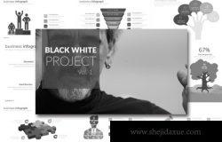 项目规划方案PPT演示幻灯片设计模板 Black White