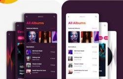 配色惊艳的音乐APP界面设计工具包 iPlayMusic 每日UI源文件分享