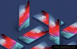 iPhone X Clay Isometric Bonus 苹果Xs白模等距透视角度 APP手机贴图展示