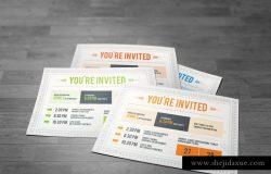 独特的明信片样式邀请函设计模板 Invitation Postcard