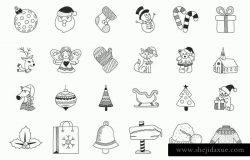 手绘圣诞节日元素线条概念图标 Christmas Hand Drawn Icons