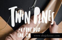 适合做婚礼标题古怪俏皮的无衬线粗体英文字体 Twin Pines | Font Duo