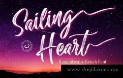漂亮的手写英文字体 Sailing Heart Script #3706113