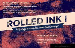 复古设计效果必备油漆滚刷肌理纹理 Rolled ink 1
