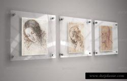 逼真玻璃框艺术海报模型PSD贴图模板Glass Frame for Art – Mock-Up
