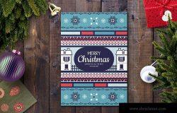 部落几何图案圣诞节贺卡设计模板 Christmas Card Template