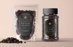 塑料咖啡包装贴图样机