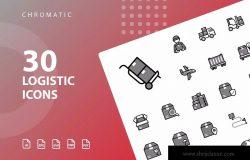 30枚Chromatic设计风格物流运输行业图标 Logistic Chromatic