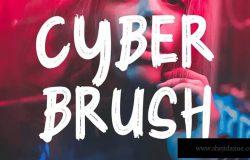 优雅画笔笔刷海报平面设计大标题英文字体 Cyber Brush – Brush Font