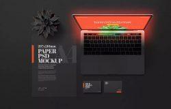 黑色场景笔记本电脑&企业文具样机