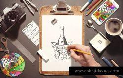 设计创作工作室场景生成器 Sketchbook / Stationery Scene Creator Mock-up