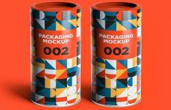铁质圆柱形零食盒外包装效果图样机V.2 Packaging Mockup 002