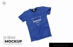 蓝色T恤服装印花设计样机模板 Blue T-Shirt Mockups