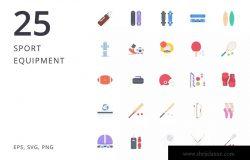 25枚运动器材矢量图标合集 Sport Equipment 25
