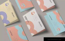 折叠式名片设计效果图样机模板 Folded Business Card Mockup