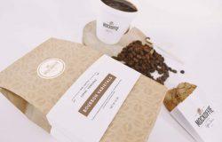 咖啡豆、咖啡杯和曲奇纸质包装 Mockup