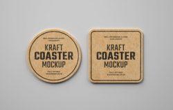 复古牛皮纸饮料杯垫标签设计样机模板集