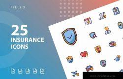 25枚保险行业填充图标设计素材 Insurance Filled
