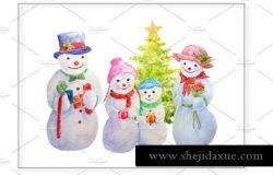圣诞节水彩雪人插画
