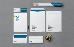 水泥背景企业文具品牌VI设计俯视图样机