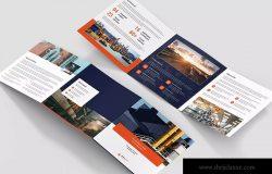 大型生产企业工厂简介三折页宣传单设计模板[横版设计] Brochure – Factory Tri-Fold Square