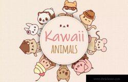 9个可爱卡通动物形象矢量插画素材 Kawaii Animals