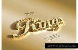 黄金和白银质感的3D字体设计[psd]