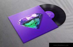 乙烯基唱片专辑设计效果图样机