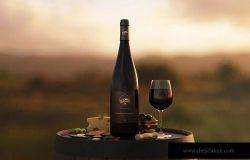 勃艮第葡萄酒瓶设计样机