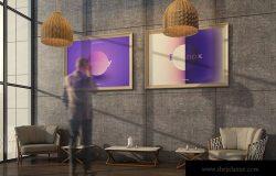 挂墙画框画廊展览样机模板素材3 Gallery Mockup