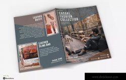 时尚皮革服饰/户外运动品牌宣传单设计模板 Casual – Fashion Bifold Brochure