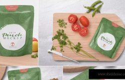 自封袋食物零食包装袋外观设计样机 Sealed Sachet Mockups