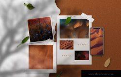 创意设计多媒介预览样机模板 Copper Realistic Moodboard Mockups