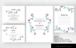 优雅女性风格水彩花卉婚礼邀请函模板