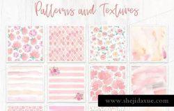 适用于婚礼设计的花卉纹理&图案背景素材合集 Wedding Backgrounds: Textures and Patterns