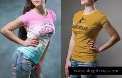 圆领T恤性感模特上身效果样机模板 Crew Neck T-shirt Mock-up Female Version