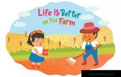 卡通风格农场元素矢量插画素材 Farmers – Vector Illustration