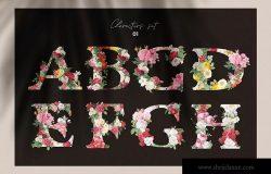 复古风格花卉字母&数字设计PNG素材 Vintage Flower Alphabet