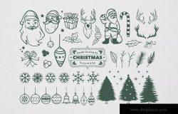 圣诞节主题矢量手绘设计素材[黑白风格] Christmas Drawing Set
