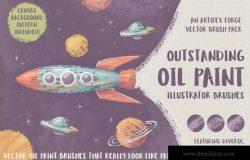 高品质油画质感AI画笔笔刷 Outstanding Oil Paint Brushes
