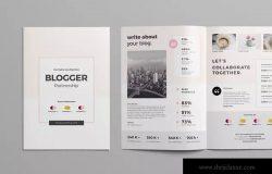博客网站简介商务合作INDD画册设计模板 Blogger Partnership Template