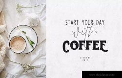 创意装饰设计/无衬线字体/连笔书法钢笔字体三合一 Toast Bread Coffee Typeface