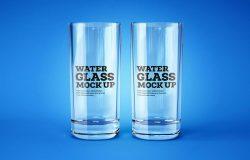 透明玻璃水杯标签设计前视图样机模板 Water and Cocktail Glass Mockup