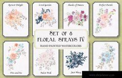 8款水彩花卉手绘剪贴画PNG图片素材 Set of 8 Watercolor Clip Art Sprays